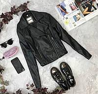 Косуха насыщенного черного цвета для девушки с подростковой фигурой  JC1823190