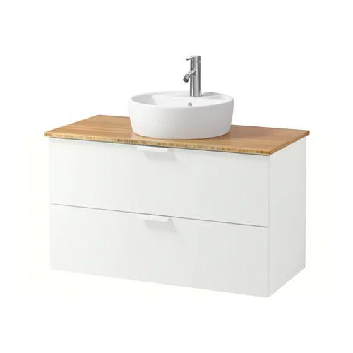 Шкаф с раковиной IKEA GODMORGON / TOLKEN / TÖRNVIKEN 102x49x74 см с ящиками белый бамбук 991.849.05