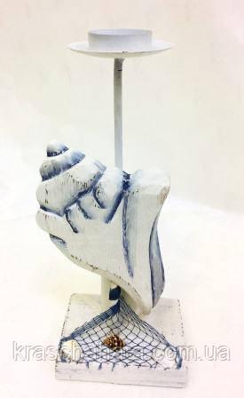 Подсвечник в морском стиле, 24х10х7,5 см, Морские сувениры, Морские декоры