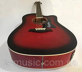 Электроакустическая гитара матовая EQUITES (Кападастр+Медиатор+Ключ) Красный