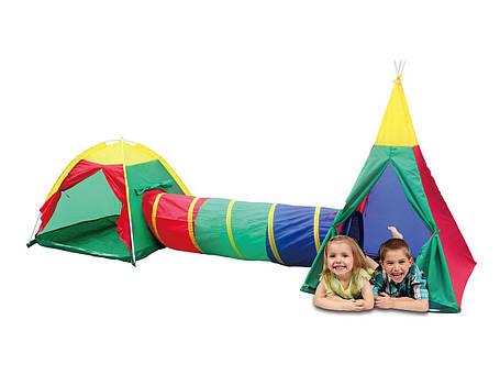 Детские игровые палатки, домики 3 in 1, с тоннелем,вигвам, фото 2