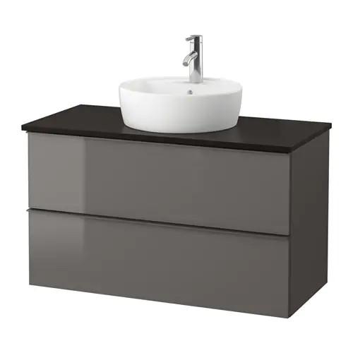 Шкаф с раковиной IKEA GODMORGON / TOLKEN / TÖRNVIKEN 102x49x74 см с ящиками глянец серый антрацит 591.857.75
