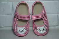 Тапочки Waldi Катя розовая клетка, котик 21р-27р, фото 1