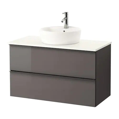 Шкаф с раковиной IKEA GODMORGON / TOLKEN / TÖRNVIKEN 102x49x74 см с ящиками глянец серый белый 791.857.79
