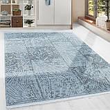 Элитные турецкие ковры, ковер хлопковый в полоску голубого цвета, фото 4