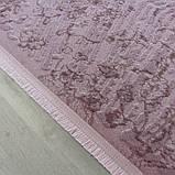 Красивейший однотонный лиловый мягкий современный ковер из хлопка, фото 5