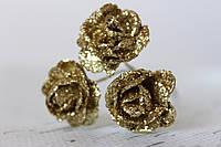 Декоративные блестящие розочки 3 шт./уп диаметр 2,5 см золотого цвета, фото 1