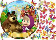 Вафельная картинка на торт Маша и Миша