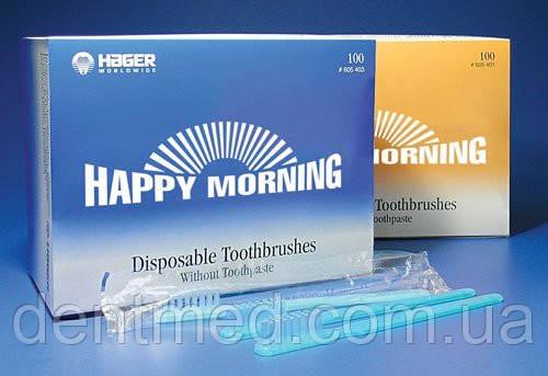 Happy Morning Одноразовые зубные щетки с пастой  100шт. NaviStom