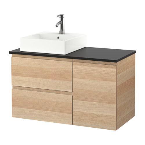 Шкаф с раковиной IKEA GODMORGON / TOLKEN / TÖRNVIKEN 102x49x72 см с ящиками беленый дуб антрацит 191.912.26