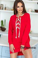 Женское платье-туника со шнуровкой, в расцветках. Р-6-0618, фото 1
