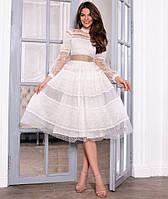 Нарядное платье с прозрачной сеткой и кружевом 44-46 р