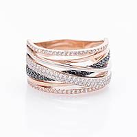 Золотое кольцо с двухцветными фианитами
