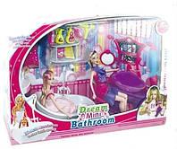 Мебель для ванной комнаты с куклами, аксесуарами
