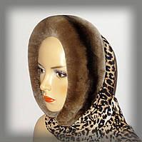 Коричневый меховой капор из Rex Rabbit (на леопарде)
