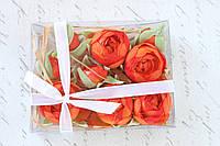 Набор пионов (ранункулюсов) в коробочке 9 шт. оранжевого, кораллового цвета, фото 1