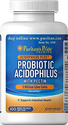 Пробіотики Ацидофілус з пектином, Puritan's Pride Probiotic Acidophilus with Pectin 3млрд 100Capsules, фото 2