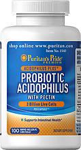 Пробіотики Ацидофілус з пектином, Puritan's Pride Probiotic Acidophilus with Pectin 3млрд 100Capsules