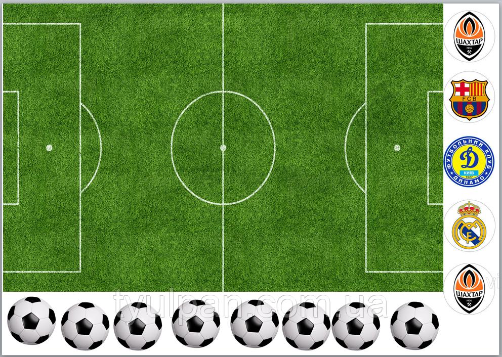 Вафельная картинка на торт спорт футбол поле футбольное
