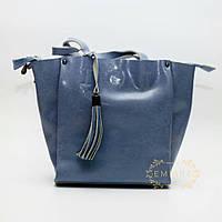 Жемчужно-голубая сумка кожаная ( не zara, mango, Gucci)