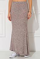 Меланжево-бежевая юбка макси Lelia