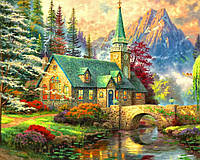 """Картина по номерам """"Альпийский пейзаж. Часовня"""" 40х50см, С Коробкой"""
