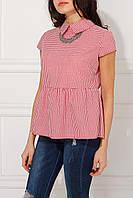 Легкая блуза с баской Lola в красно-белую клетку виши