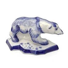 Фигурка декоративная Белый медведь роспись гжель