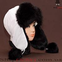 Ушанка женская 11.12, верх-белый, мех-черный