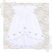 Платье нарядное белое подходит для крещения девочки на годик Хлопок отличное качество, фото 1