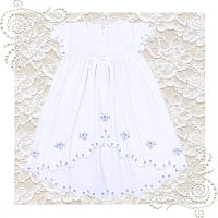 Платье нарядное белое подходит для крещения девочки на годик Хлопок отличное качество
