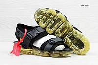 Босоножки мужские серые с черным Nike Sandals Off white x Nike Air VaporMax  5539 f60c6a6a46322
