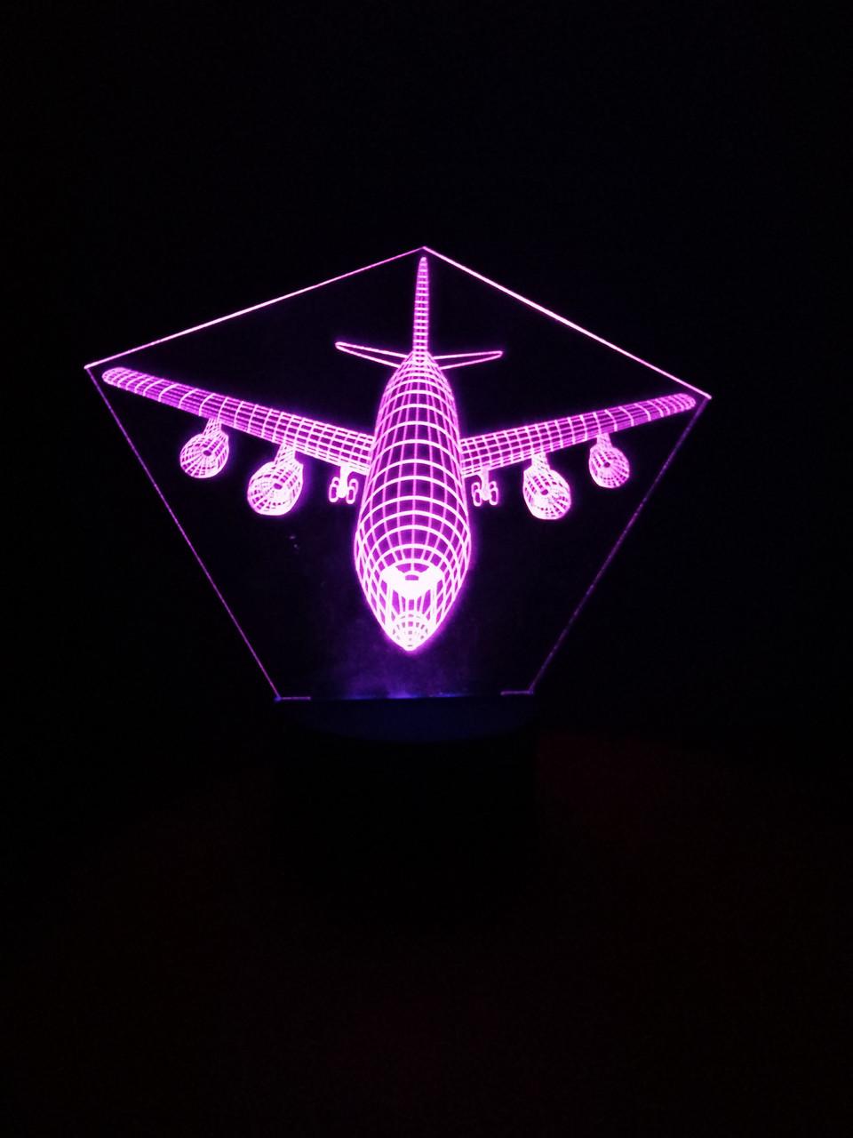 3d-світильник пасажирський Літак, 3д-нічник, кілька підсвічувань (на батарейці)