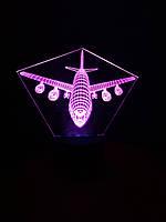 3d-светильник Самолет пассажирский, 3д-ночник, несколько подсветок (на батарейке)
