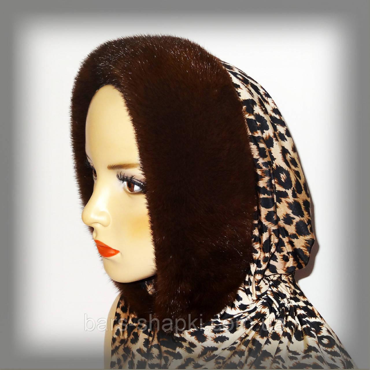 Норковый меховой капор (на леопардовом трикотаже)