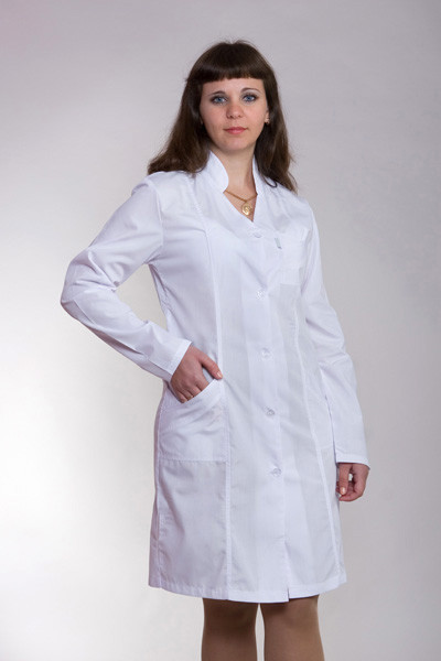 Женский медицинский халат белый р.40-56