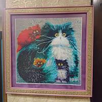 Алмазная вышивка Кошка мама