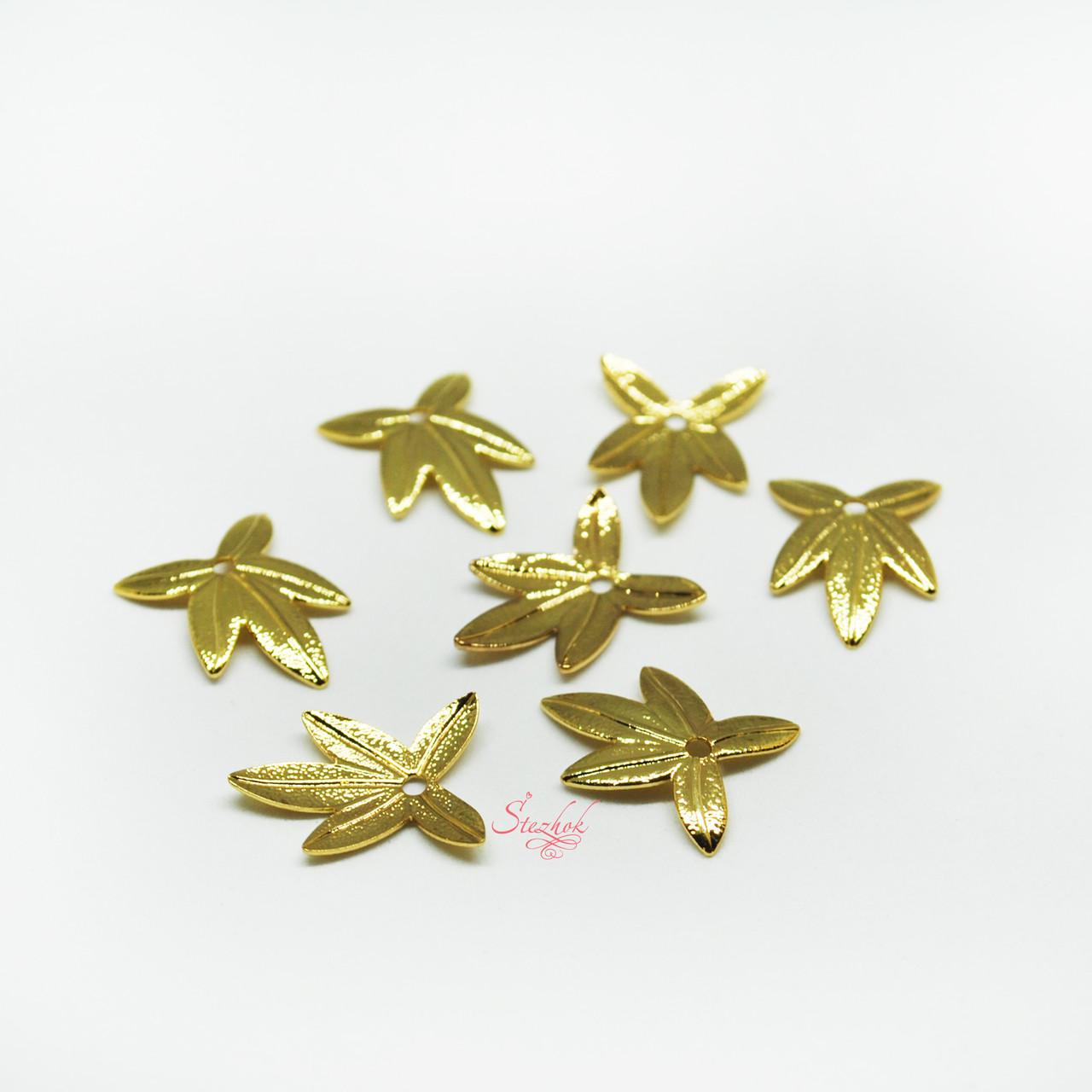 Металлическая подвеска листик 15х11мм для рукоделия цвет золото