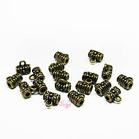 Металлические бейлы-бусины с кольцом 7х7мм бронза для рукоделия