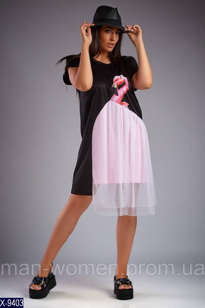 """Оригинальное платье большого размера """"Розовый Фламинго""""  от LIKARA- размеры (50-52; 54);  РОЗНИЦА + 30грн"""