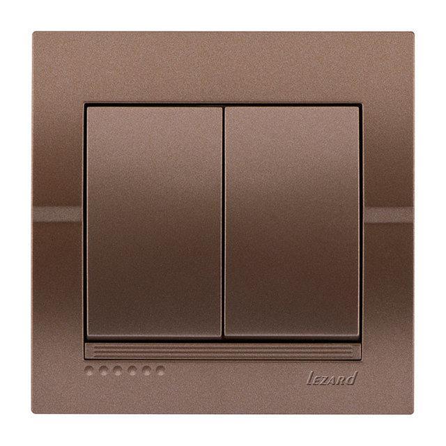 Lezard Deriy Выключатель двойной Светло-коричневый металлик