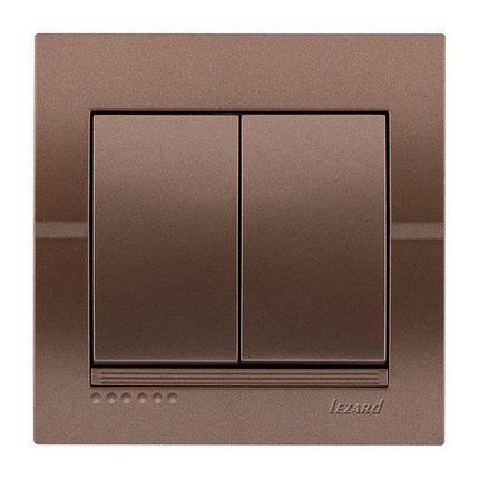 Lezard Deriy Выключатель двойной Светло-коричневый металлик, фото 2