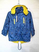 Куртка на флисе подростковая весна-осень | в упаковке 6 шт | Цвет-синий