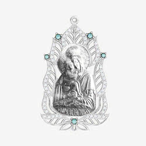 Ладанка серебряная Богородица ЛП-98