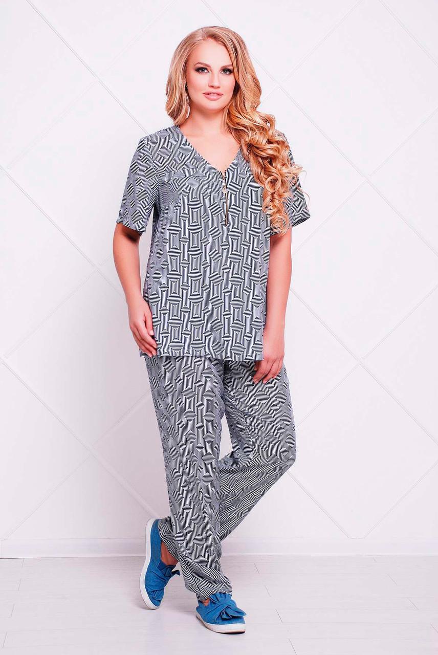 bde1356e3691b95 Летний костюм больших размеров Донна серый (54-60) 60, цена 650 грн ...