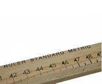 Линейка портняжная деревянная 1м - см\дюймы 2,7см ширина