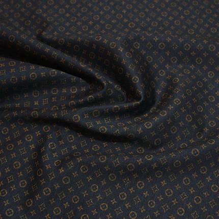 Трикотаж Алекс (джерси) принт D-25-1 темно-синий, фото 2