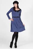 Синее теплое платье RACHEL с черным кружевным воротником
