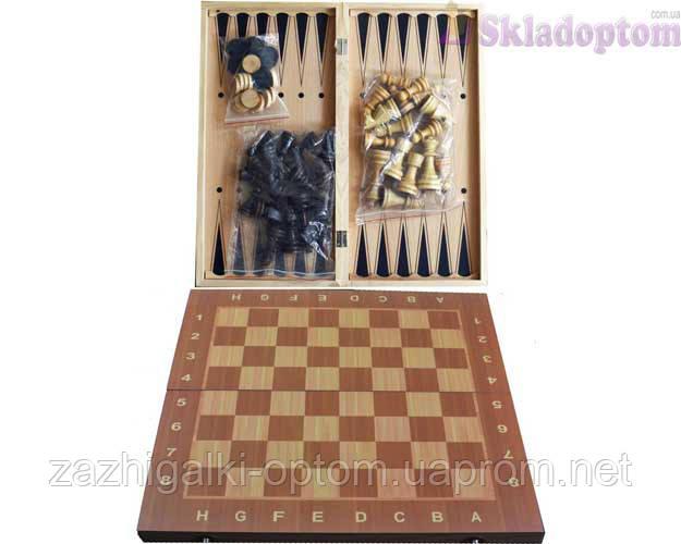 Шахматы Шашки Нарды 3в1 W7725 (44х44 см)