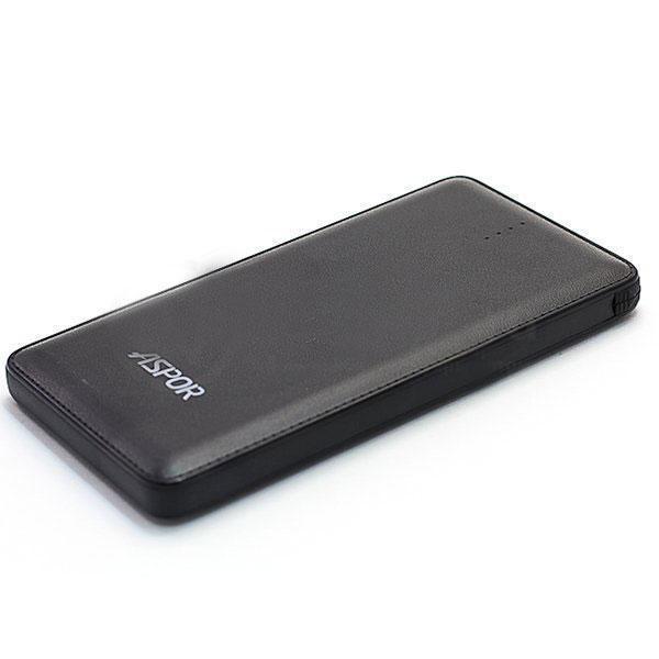 Powerbank аккумулятор Aspor A382 10500 со встроенным кабелем micro+Iphone черный